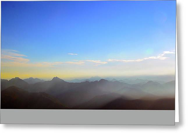 Pilchuck And Three Sisters Sunrise Greeting Card