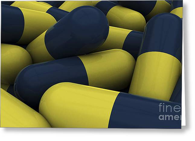 Pile Of Blue And Yellow Medication Greeting Card