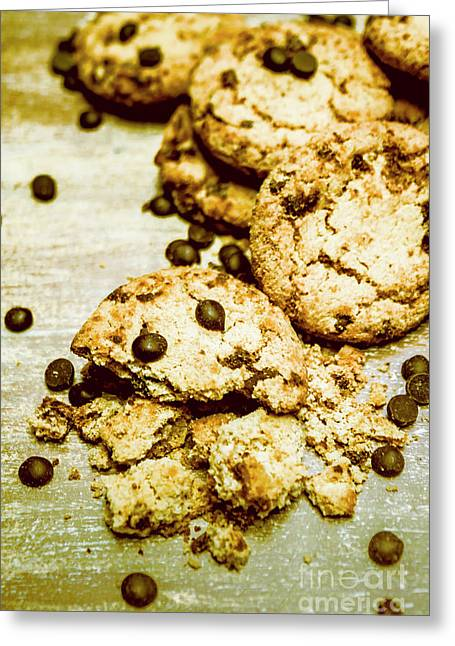 Pile Of Crumbled Chocolate Chip Cookies On Table Greeting Card
