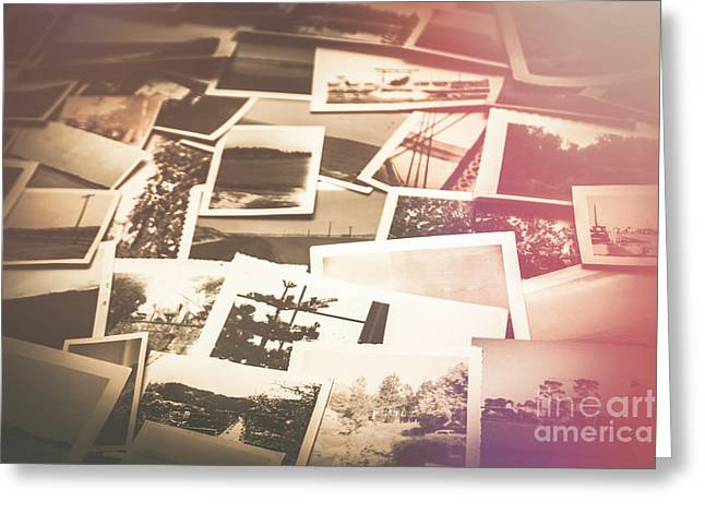 Pile Of Old Scattered Photos Greeting Card