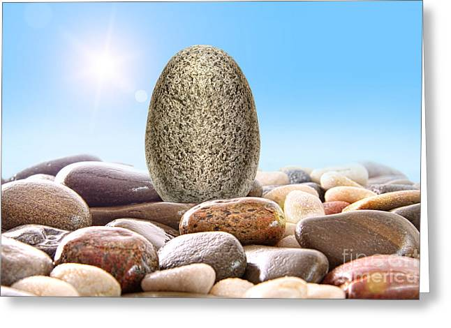 Pile Of River Rocks On White Greeting Card by Sandra Cunningham