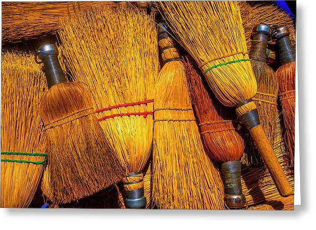 Pile Of Whisk Brooms Greeting Card