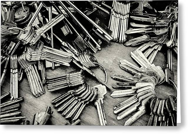 Piles Of Blank Keys In Monochrome Greeting Card