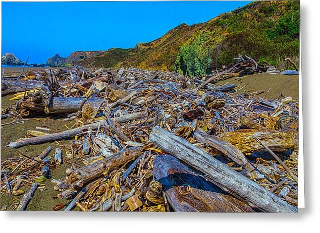Piles Of Driftwood Sonoma Beach Greeting Card