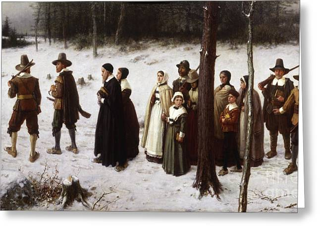 Pilgrims Going To Church, 1867 Greeting Card by George Henry Boughton