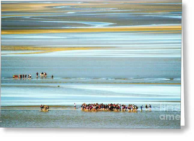 Pilgrims In The Mount Saint-michel Bay Greeting Card