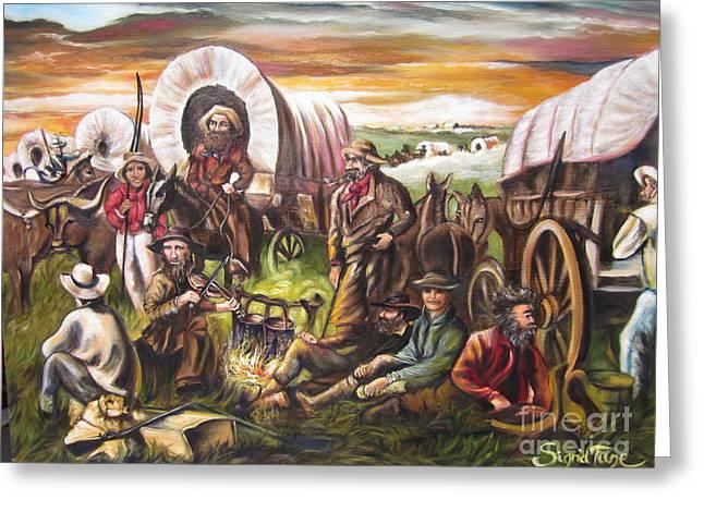 American    History  Pilgrims On The Plain Greeting Card