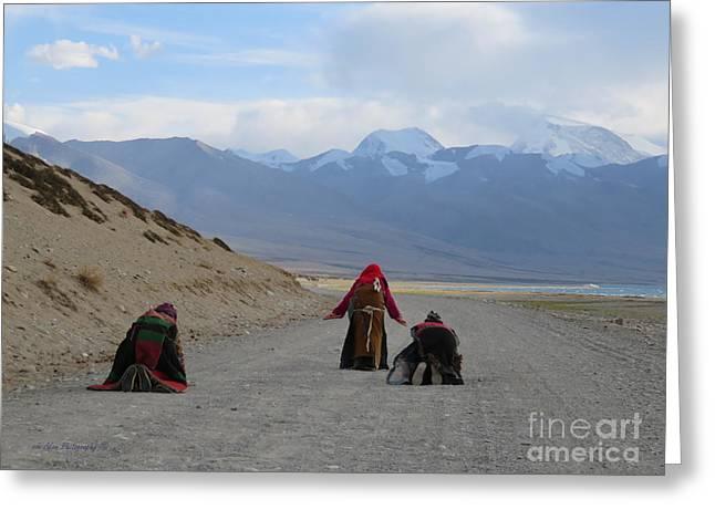 Pilgrims Prostrating Around Sacred Lake Mansarovar, Tibet Greeting Card by Mikhael van Aken