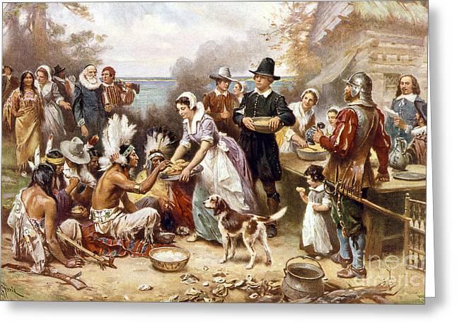 Pilgrims: Thanksgiving, 1621 Greeting Card by Granger