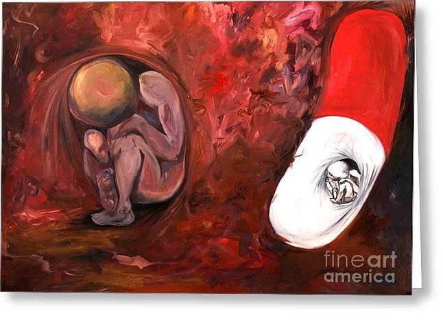 Pill Fetus Greeting Card by Victoria Dietz