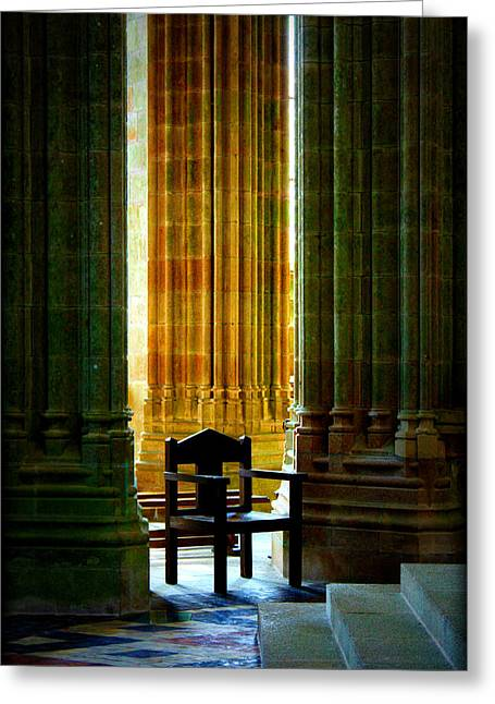Pillars And Chair At Mont St Michel Greeting Card by Susie Weaver