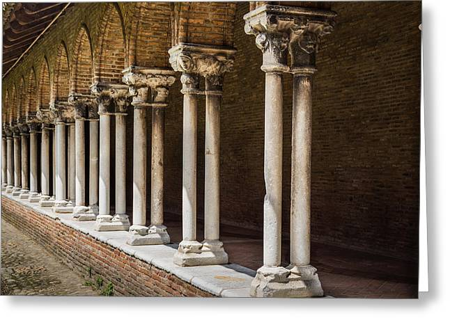 Pillars Insde Eglise Des Jacobins Or Church Of The Jacobins Greeting Card