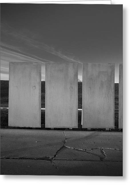 Pillars Of Art In The Black And White World Greeting Card by Greg Kopriva