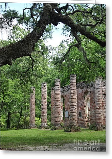 Pillars Of Sheldon Church Ruins Greeting Card by Carol Groenen