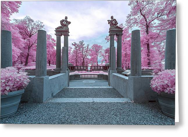 Greeting Card featuring the photograph Pillars With Pink by Brian Hale
