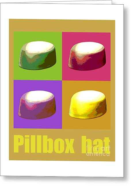 Greeting Card featuring the digital art Pillbox Hat by Jean luc Comperat