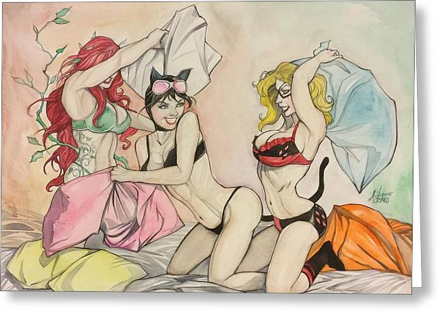 Pillow Fight Greeting Card by Jimmy Adams