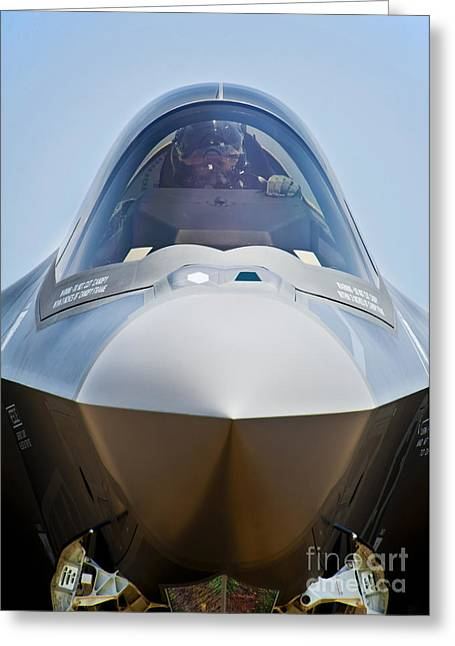Pilot In The Cockpit Of A U.s. Air Greeting Card by Stocktrek Images