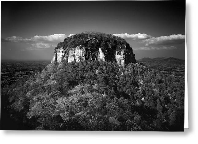 Mayberry Greeting Cards - Pilot Mountain Back and White Greeting Card by Mark Wagoner