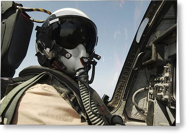 Aircrew Greeting Cards - Pilot Performs A Flight Mission In An Greeting Card by Stocktrek Images