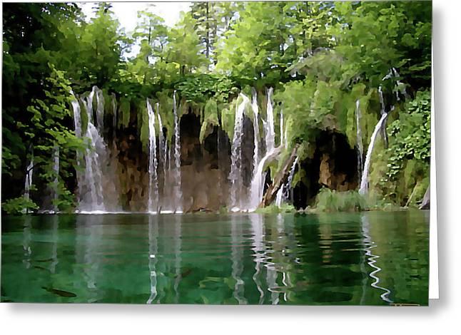 Piltvice Lake Falls Greeting Card