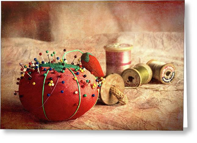Pin Cushion And Wooden Thread Spools Greeting Card