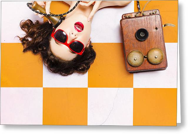 Pin-up Beauty Decision Making On Old Phone Greeting Card by Jorgo Photography - Wall Art Gallery