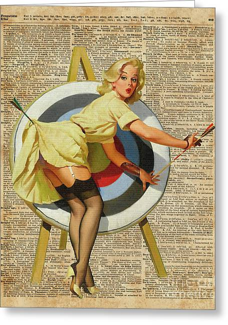 Pin Up Girl Archery Vintage Dictionary Art Greeting Card
