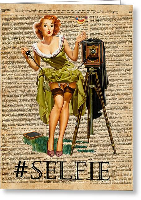 Pin Up Girl Making #selfie Vintage Dictionary Art Greeting Card by Jacob Kuch