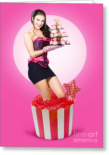 Pin-up Girl Popping Out Of Large Birthday Cake Greeting Card by Jorgo Photography - Wall Art Gallery