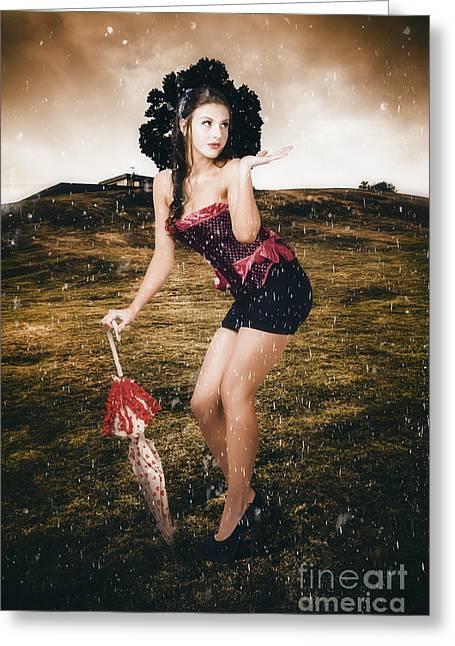 Pin Up Girl Standing In Field Under Summer Rain Greeting Card