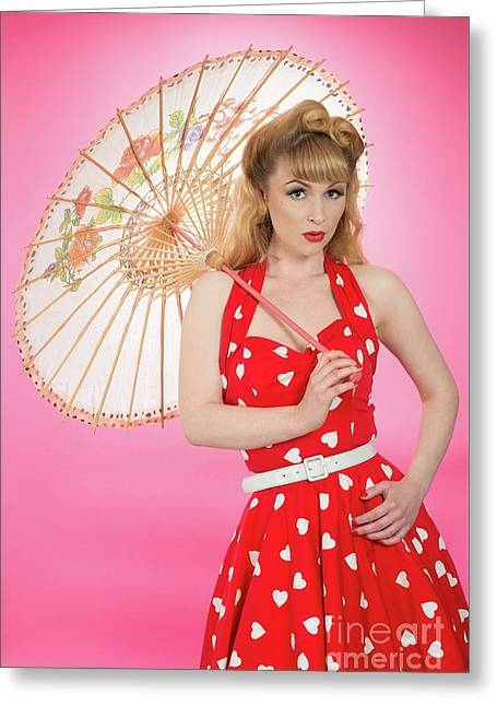 Pin Up Girl With Parasol Greeting Card