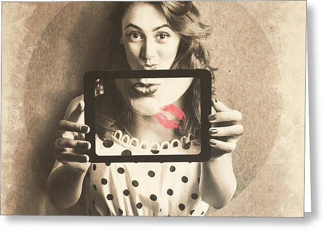 Pin Up Girl With Technology Love Greeting Card by Jorgo Photography - Wall Art Gallery