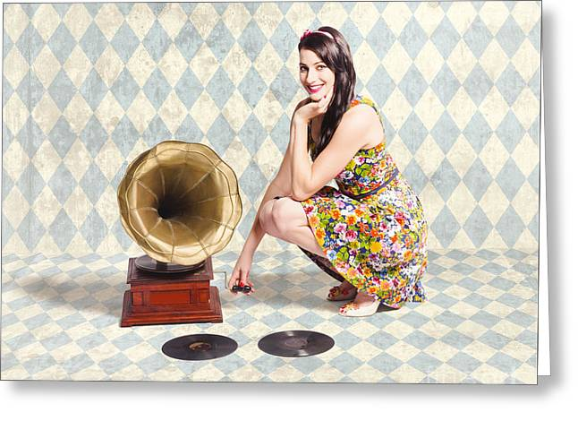 Pin Up Gramophone Girl Greeting Card by Jorgo Photography - Wall Art Gallery