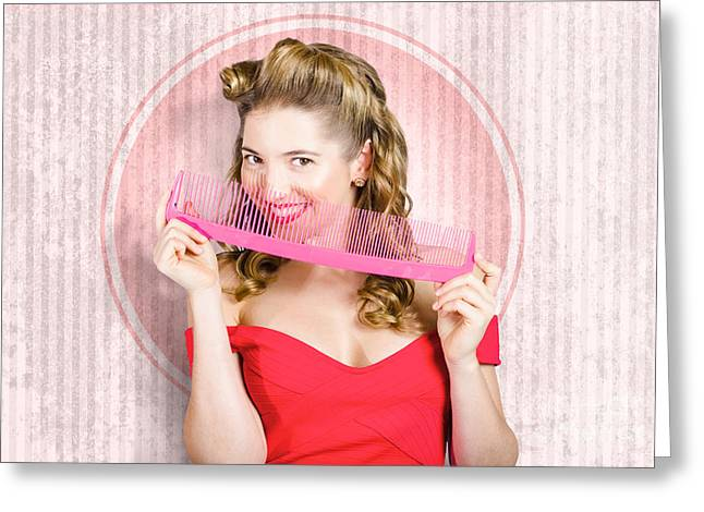 Pin Up Hairdresser Woman With Hair Salon Brush Greeting Card by Jorgo Photography - Wall Art Gallery