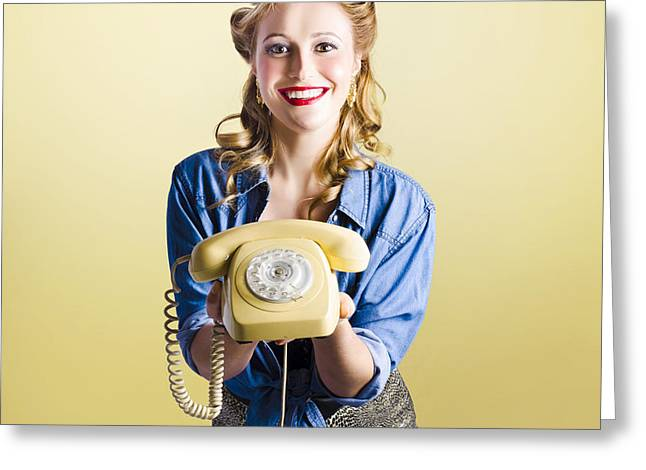 Pin-up Hotline Phone Operator. Call Us Greeting Card by Jorgo Photography - Wall Art Gallery