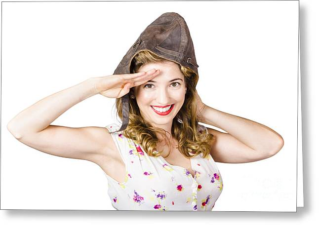 Pin Up Lady Saluting In Fighter Pilot Cap Greeting Card by Jorgo Photography - Wall Art Gallery