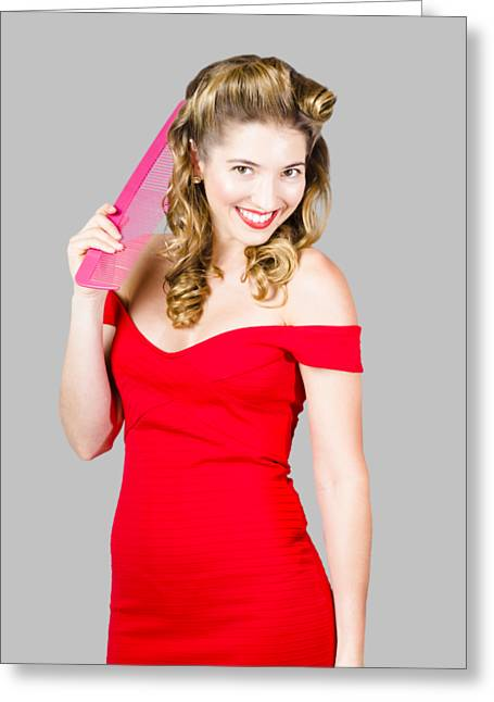 Pin-up Styled Fashion Model With Classic Hairstyle Greeting Card by Jorgo Photography - Wall Art Gallery