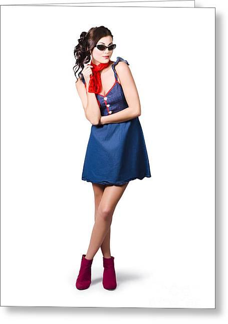 Pin Up Styling Fashion Girl In Retro Denim Dress Greeting Card