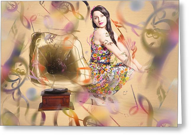 Pin-up The Sound Of Nostalgia Greeting Card by Jorgo Photography - Wall Art Gallery