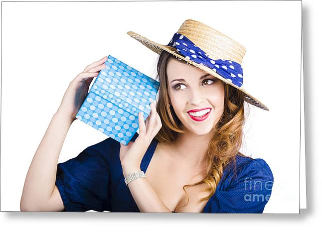 Pin Up Woman With Blue Polkadot Gift Greeting Card by Jorgo Photography - Wall Art Gallery
