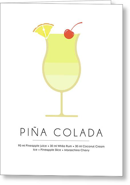 Pina Colada Classic Cocktail - Minimalist Print Greeting Card
