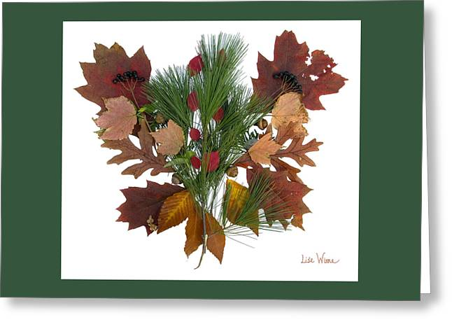 Pine And Leaf Bouquet Greeting Card by Lise Winne