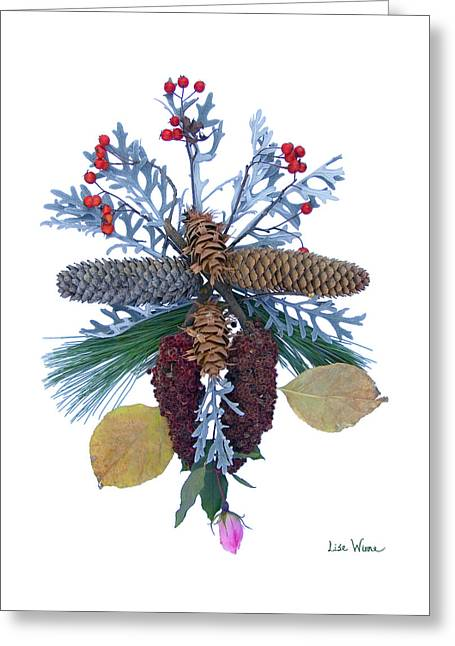 Pine Cone Bouquet Greeting Card by Lise Winne