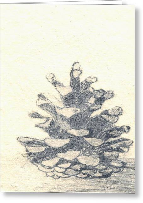 Pine Cone - Dry Point Etching In Grey Greeting Card by Lisa Le Quelenec