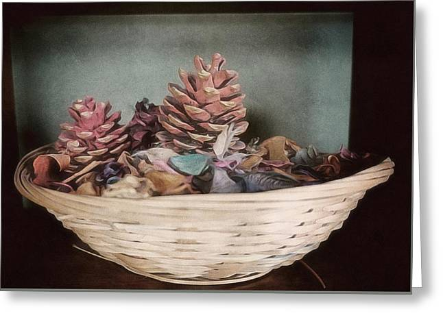 Pine Cone In A Basket Christmas Decoration Greeting Card