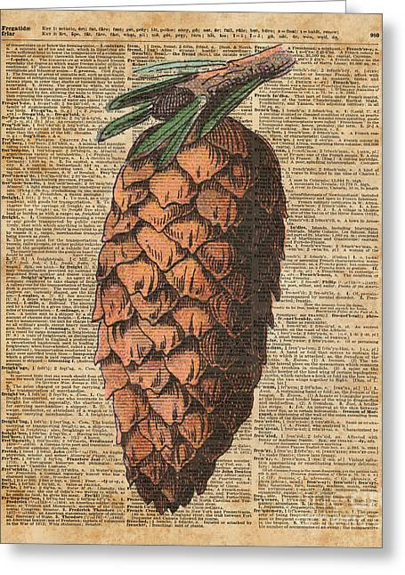 Pine Cone Vintage Dictionary Book Page Artwork  Greeting Card by Jacob Kuch