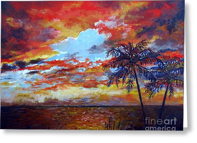 Greeting Card featuring the painting Pine Island Sunset by Lou Ann Bagnall