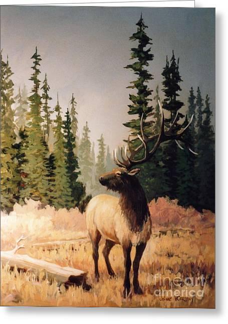 Pine Meadow Elk Greeting Card by JoAnne Corpany