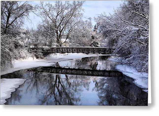 Pine River Foot Bridge From Superior In Winter Greeting Card